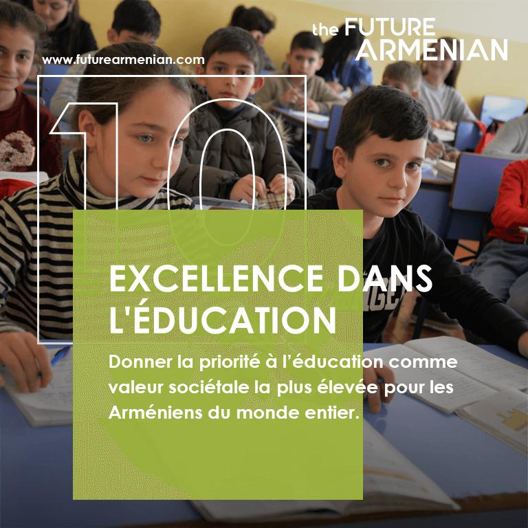 L'excellence dans l'éducation. Article préparé par l'équipe analytique de Futures Studio sur le dixième objectif de l'Initiative Le FUTUR ARMÉNIEN